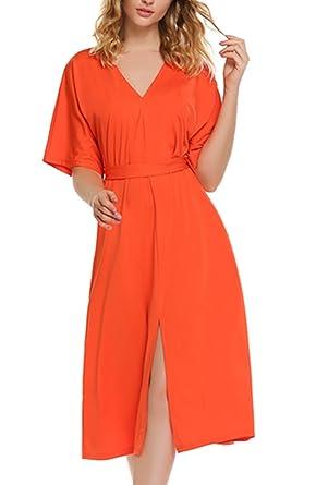 Amazon Com Finejo Women S Kimono V Neck Short Sleeve Plus Size