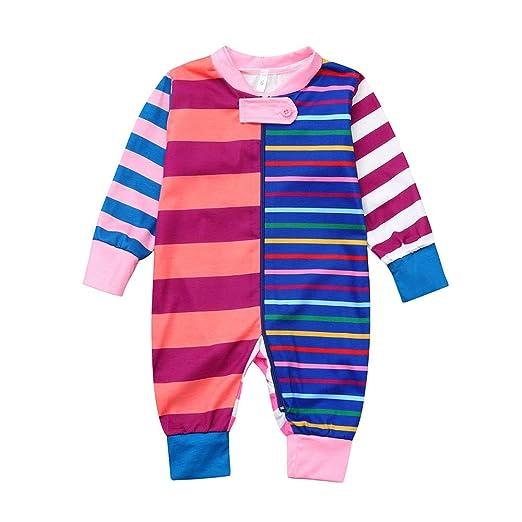 6df30330b Amazon.com  SUJING Newborn Baby Girls Stripe Print Romper Bodysuit ...