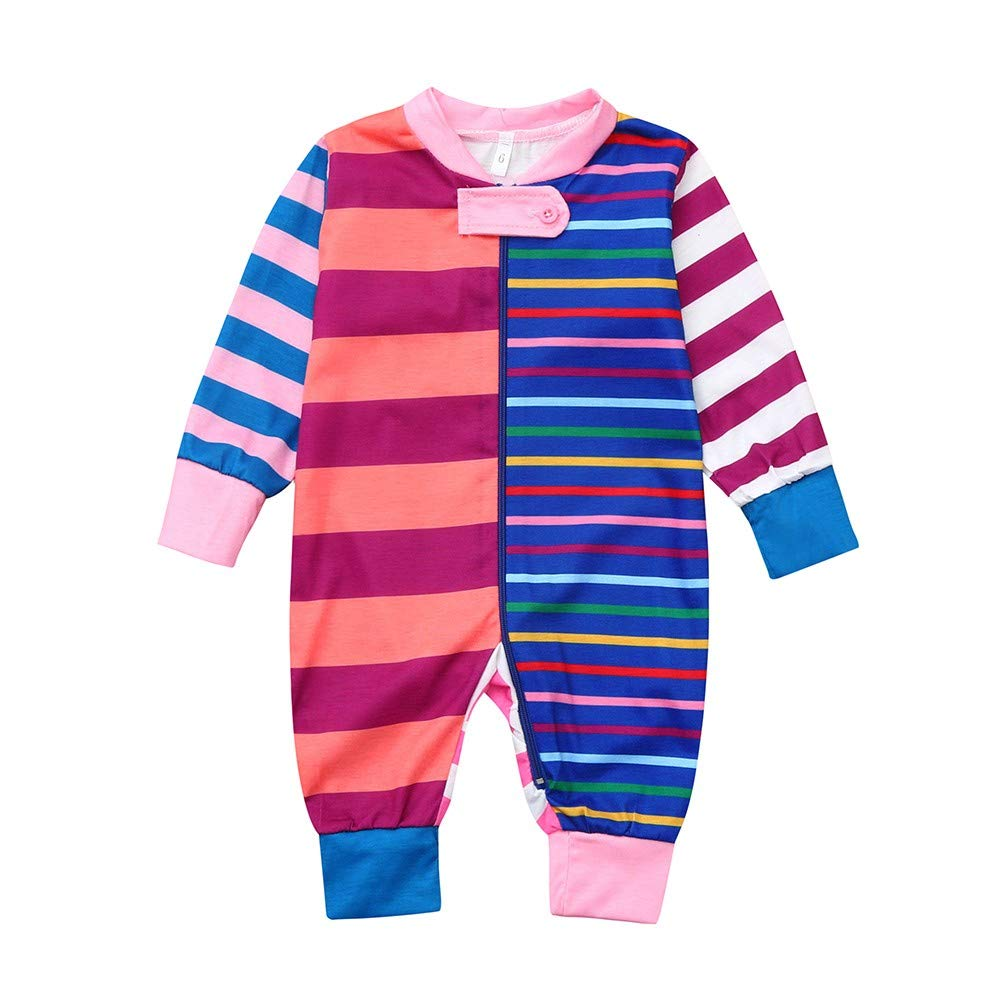Woaills-Tops 2018 Christmas Toddler Clothes,Baby Long Sleeves Stripe Print Romper Jumpsuit (0-3 Months, Multicolor 1)