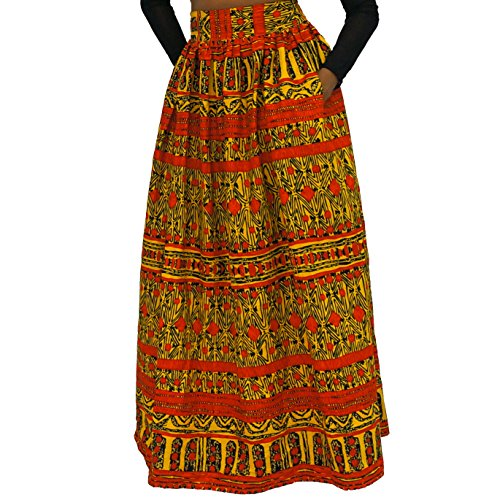 African Wax Print Maxi Skirt Ankara/ Kitenge - Yellow Tribal- 27'' waist-medium by The Urban Turbanista