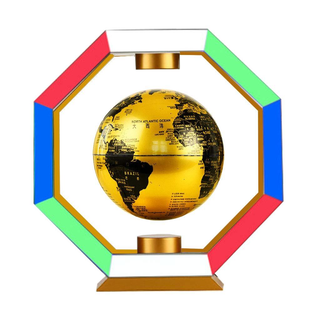 Forma Ottagonale Globo di levitazione Magnetica da 6' Giallo Oro Mappa del Mondo Galleggiante con luci a LED Colorate per i Regali