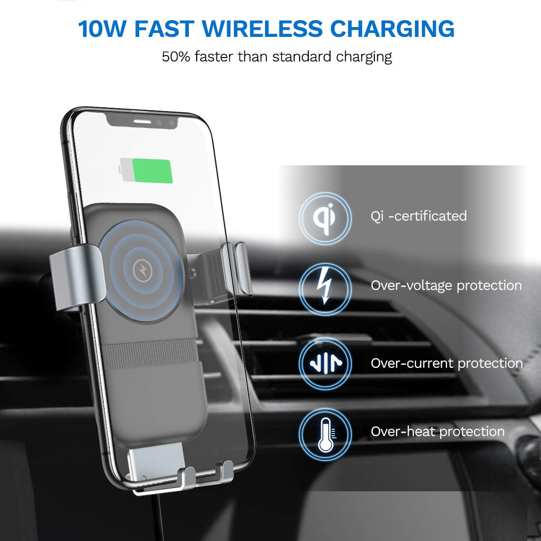 Andobil Wireless Car Charger Mount, Auto-Clamping Gravity Sensor Cell Phone Holder, 10W /7.5W Power Qi Fast Charging Compatible iPhone 11 Pro Max XR Xs X 8, S10 S9 Note 10 9