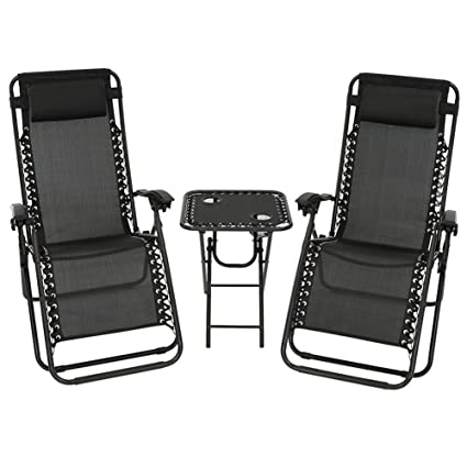 Akari Decor 3pcs Set Deluxe 2 Pack Furniture Zero Gravity Chairs Outdoor  Indoor Portable Lounge