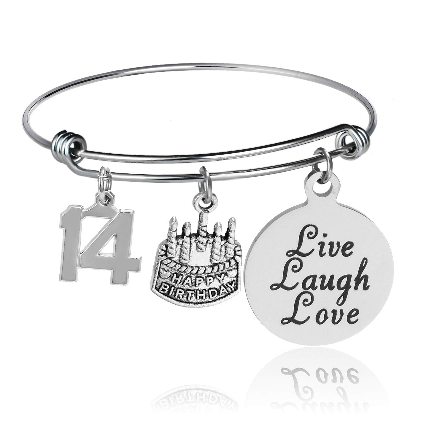 fc08a324968bc YeeQin Happy Birthday Bangles, Cake Cheer Live Laugh Love Charms Bangle  Bracelets, Gifts for