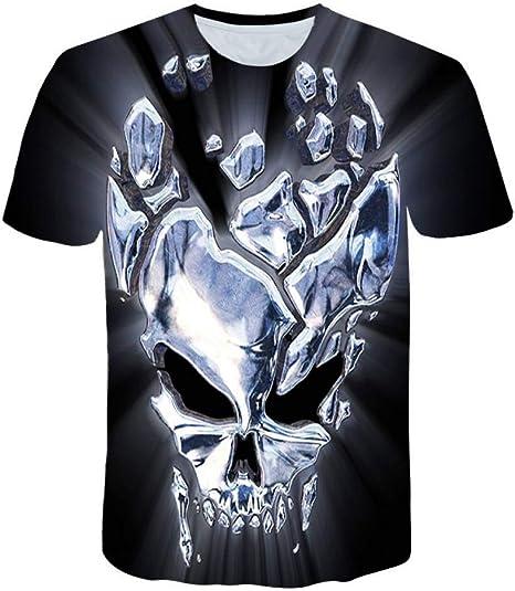 RCFRGV 3D Camiseta 3D cráneo Camisetas Hombres Moda Hombres Casual ...