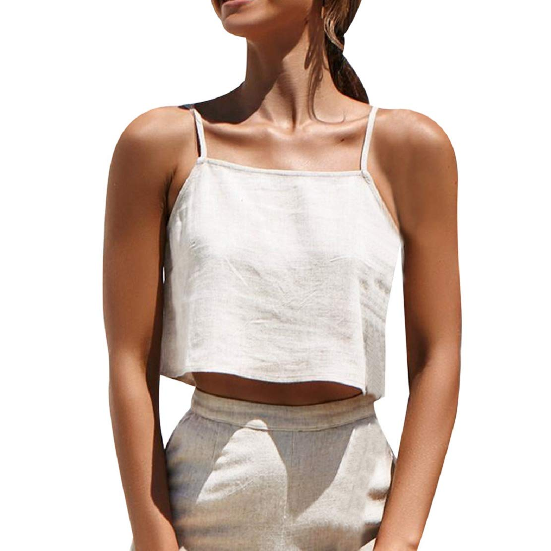 Women Pure Camis Tops Summer Casual Bandage Zip Crop Tank Tops Camisole by Lowprofile White