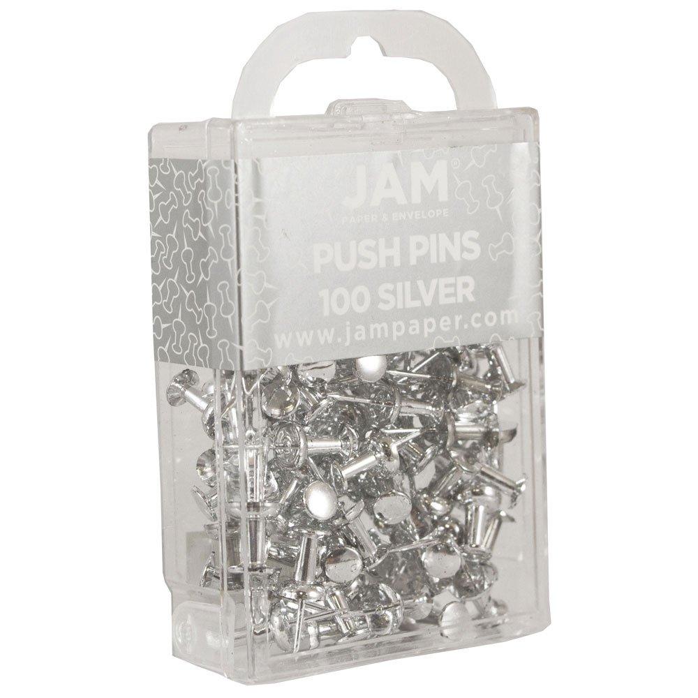 amazon com jam paper colorful push pins silver pushpins 100