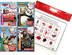 Disney Cars Magic Pen Painting Activity Books, Set for Boys with ZIPPER BAG. Includes: Cars Radiator Springs, Cars 2 World Tour, Cars 3 Join Forces coloring books & Cars 8 Sticker Puzzles