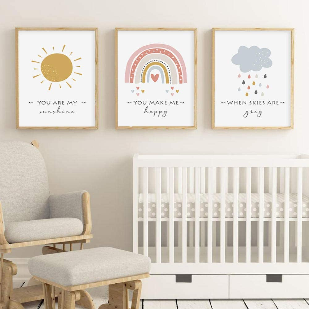 None brand Cartoon Sun Cloud Regenbogen Kinderzimmer Dekor Leinwand Malerei Wandkunst Bilder Poster Drucke f/ür Kinder Baby Zimmer Home Decoration No Frame-50x70cmX3