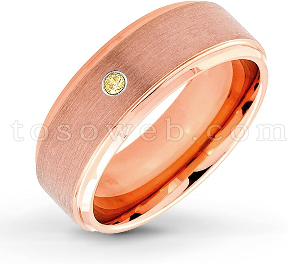 8mm Yellow Gold Plated Beveled Edge Tungsten Carbide Ring TS2102 November Birthstone Ring Men/'s Citrine Solitaire Wedding Band