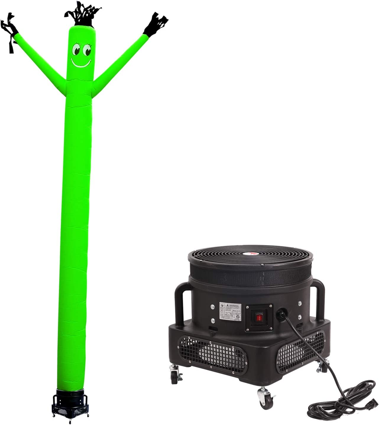 MOUNTO 20ft Air Inflatable Tube Guy Puppet Dancing Man with 1HP Blower Complete Set, 20-Feet 18Inch (Green)