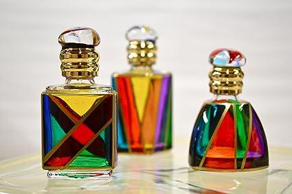 Pintada a mano de cristal de Murano de botes de Perfume, juego de 3,