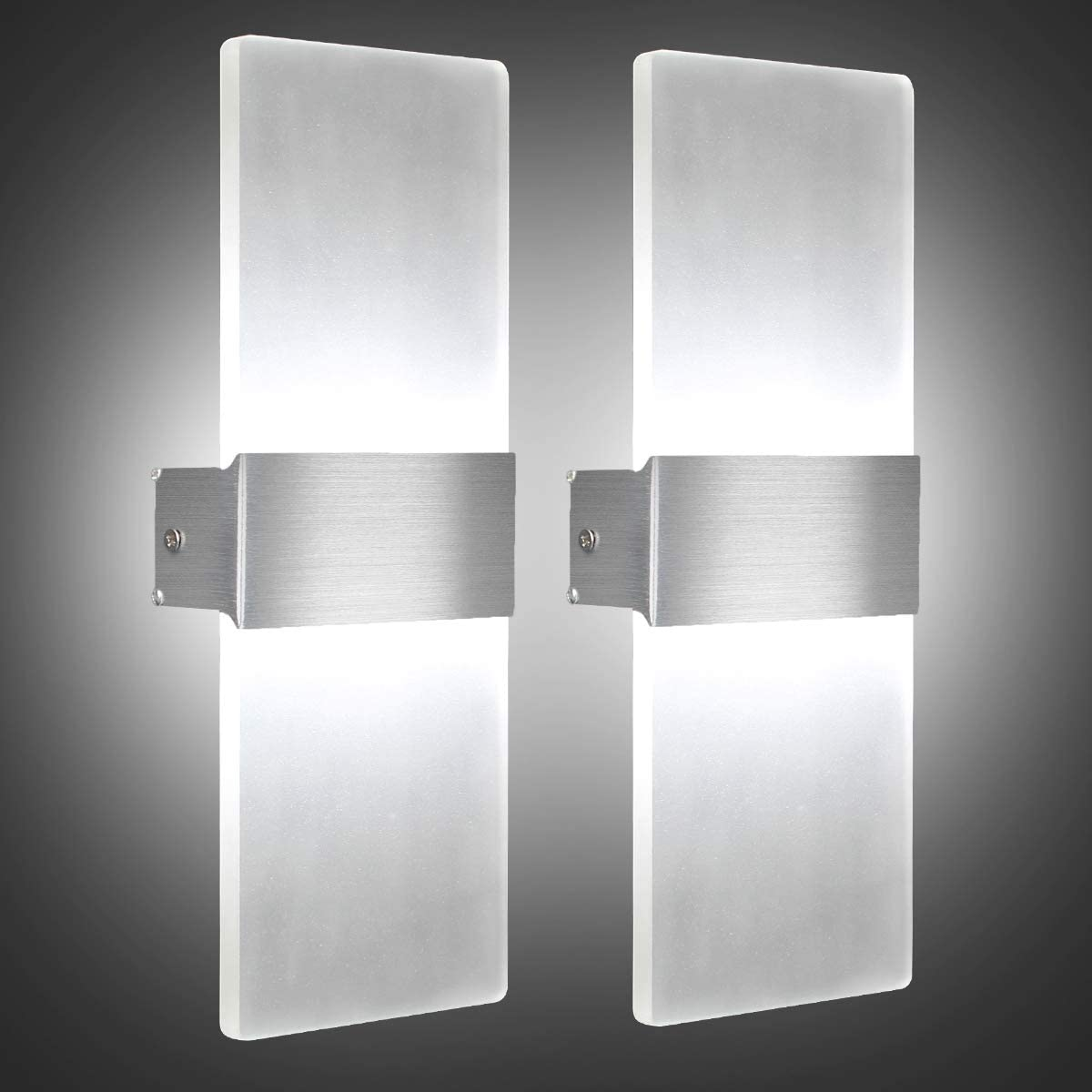 AUMIO Modern Elegant Wall Sconces Wall Lighting in 12W, Set of 2 LED Wall Lamp in Cool White, Acrylic 6000K Wall Mounted Wall Lights for Bedroom Hallway Living Room Porch Basement Stairway Decord