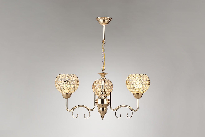 Tu Casa Golden Colour Metal & Crystals 3 Light Pendant LightSL2207