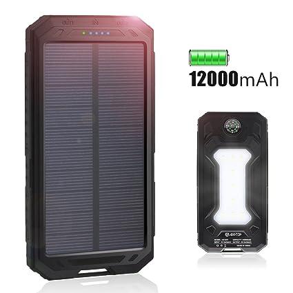 Amazon.com: Cargador solar 12000 mAh, addtop al aire última ...
