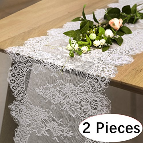 "B-COOL 12"" X 120"" Lace Table Runner Exquisite Lace Fabric With Rose Vintage Embroidered Perfect For Wedding Boho Party Decor (2 pieces)"