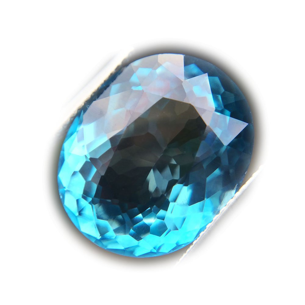 Certified GLC 15.42ct Natural Oval Coating Blue Topaz Brazil #B