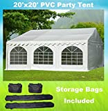20'x20' PVC Party Tent - Heavy Duty Wedding Canopy Gazebo Carport - with Storage Bags - By DELTA Canopies