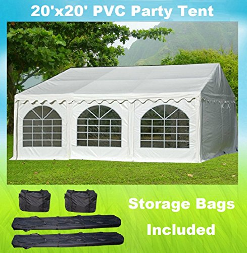 Cheap 20'x20′ PVC Party Tent – Heavy Duty Wedding Canopy Gazebo Carport – with Storage Bags – By DELTA Canopies