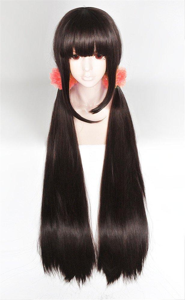 LanTing Cosplay Peluca New Dangan Ronpa V3 Oma Kokichi Dark Blue Mix Short Cosplay Party Fashion Anime Human Costume Full wigs Synthetic Cabello Heat Resistant Fiber