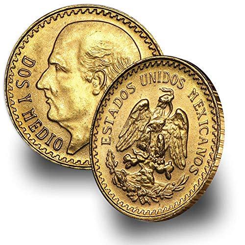 1918-1948 (Random Year) Mexico Gold Dos y Medio 2.5 Pesos Brilliant Uncirculated .0603 troy oz AGW