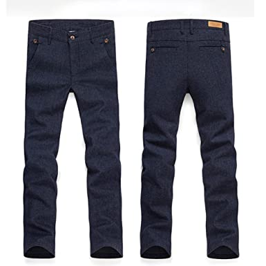 96d948c89b5 Yeshi Fashion Men s Pants Straight Slim Fit Cotton Linen Casual Business  Solid Color Long Trousers Size