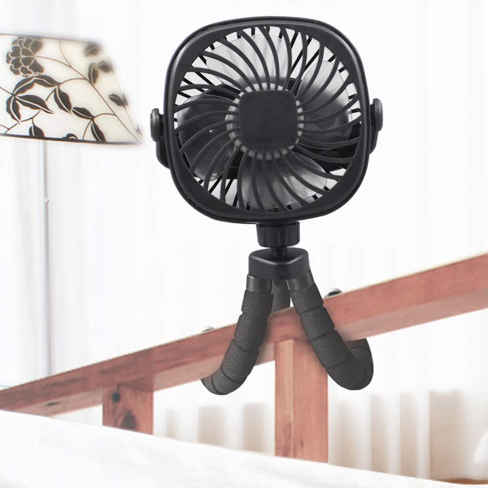 3 Speeds Strong Airflow Natural Wind 360 Degree Rotate Air Condition Unit Fit Car Desk Vehicle Baby Stroller Fan Home Travel Mini Handheld Fan Portable Stroller Fan with Tripod