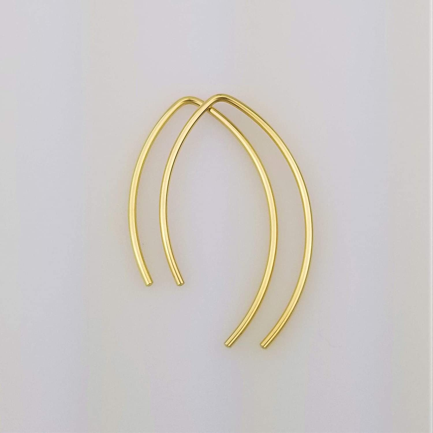 "1"" Solid 14k Gold Open Hoop Threader Earrings Gift for Women 61UC2ttjDEL._SL1500_"