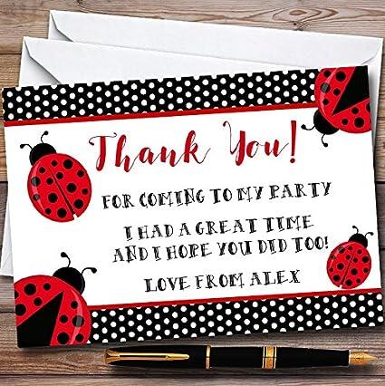 10 Invitaciones Polkadot Ladybird Ladybug Tarjetas De