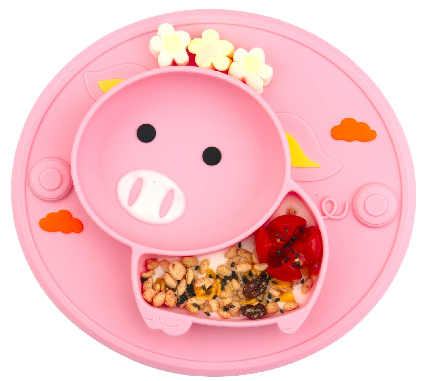 Baby Divided Plate Silicone- Portable Non Slip Child Feeding Plate with Suction Cup for Children Babies and Kids BPA Free Baby Dinner Plate Microwave Dishwasher Safe