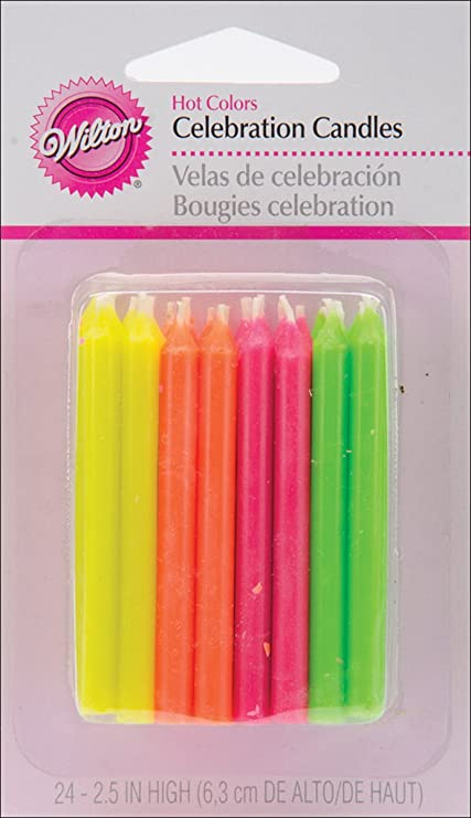 Amazon Wilton Birthday Candles 25 Inch Hot Colors 24 Pack