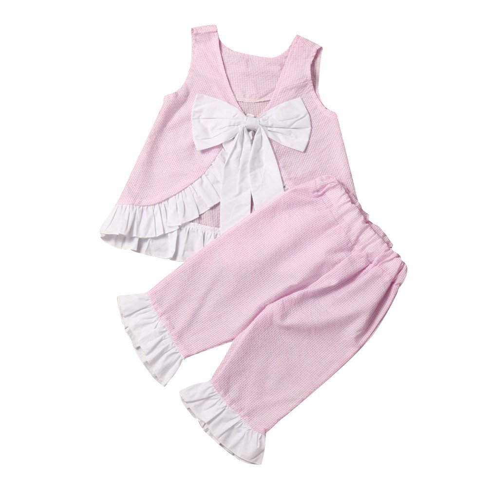 Dsood Girls Outfits Size 7,Summer 2PCS Kids Baby Girl Cute Bow Vest Tops + Shorts Pants Clothes Outfits Set,Baby Boys' Costumes, 2019,Pink