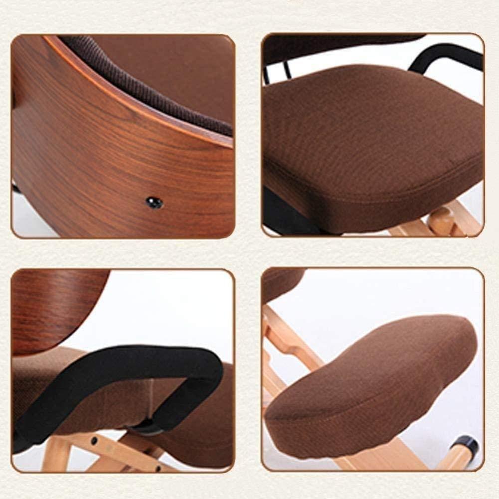 Hållningskorrigering kontorsstol ergonomisk knästol ryggstöd armstöd bomull linne knäpall ortopedisk pall knästol knä stol (färg: Kamel) Röd