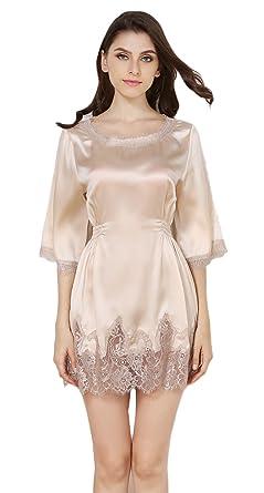 afc4c873391297 Tulpen Damen Seide Schlafrock 1/2 Arm 100% Maulbeerseide Schlafanzug Robe:  Amazon.de: Bekleidung