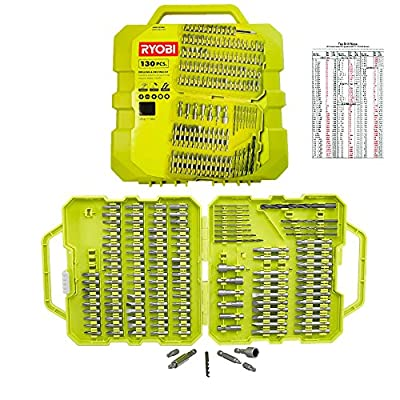 RYOBI Drill Bit Set 130 Pcs With Case – Drill Bit Kit Can Be Used With Any Cordless or Power Drill Including Impact Drivers and Hammer Drills – Laminated Tap Drill Size Card Also Included