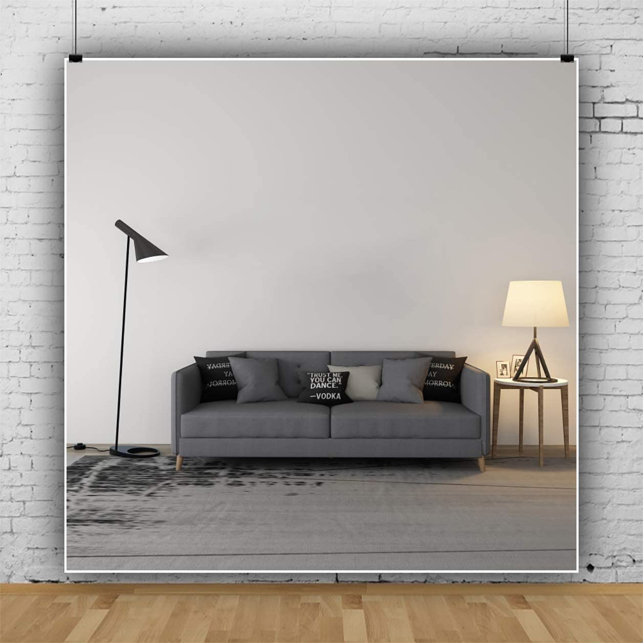 YEELE Simple Room Interior Backdrop 6.5x6.5ft Stylish Living Room with Sofa Photography Background Modern House and Home Design Indoor Apartment Kids Adult Portrait Photo Studio Props