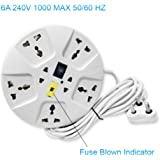 Elove Multi-Plug Point Extension Board with Master Switch, LED Indicator and Universal Socket, 2.8 m, 6A (White)