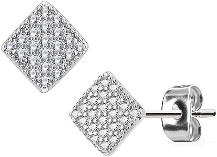 STR-0571 Pair of Stainless Steel Pair of Micro CZ Paved Square Post Earring Studs