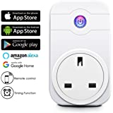 Smart Plug, ELEGIANT 2.4G Wifi Smart Timer Socket Work with ECHO Alexa/ Google Home Assistant Cell Phone Wireless Remote Control Turn On/Off Electrics Switch for Household Appliances by Cellphone iPhone IOS/Android App Anywhere Anytime