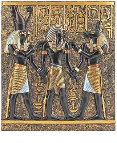 Design Toscano Rameses I Between Horus and Anubis Wall Frieze in Faux Ebony and Gold