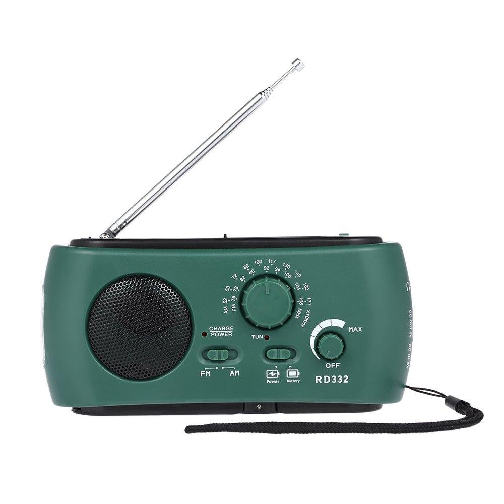 Walmeck FM AM Radio Emergency Radios Solar + Hand Crank Radio with Emergency Power Bank Phone Charger & LED Flashlight Function