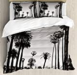 What Are the Measurements of a California King Size Bed USOPHIA Palm Tree 4 Pieces Bed Sheets Set King Size, Los Angles Downtown Park View Tropical Nature California American Landmark Floral Duvet Cover Set, Dark Brown White