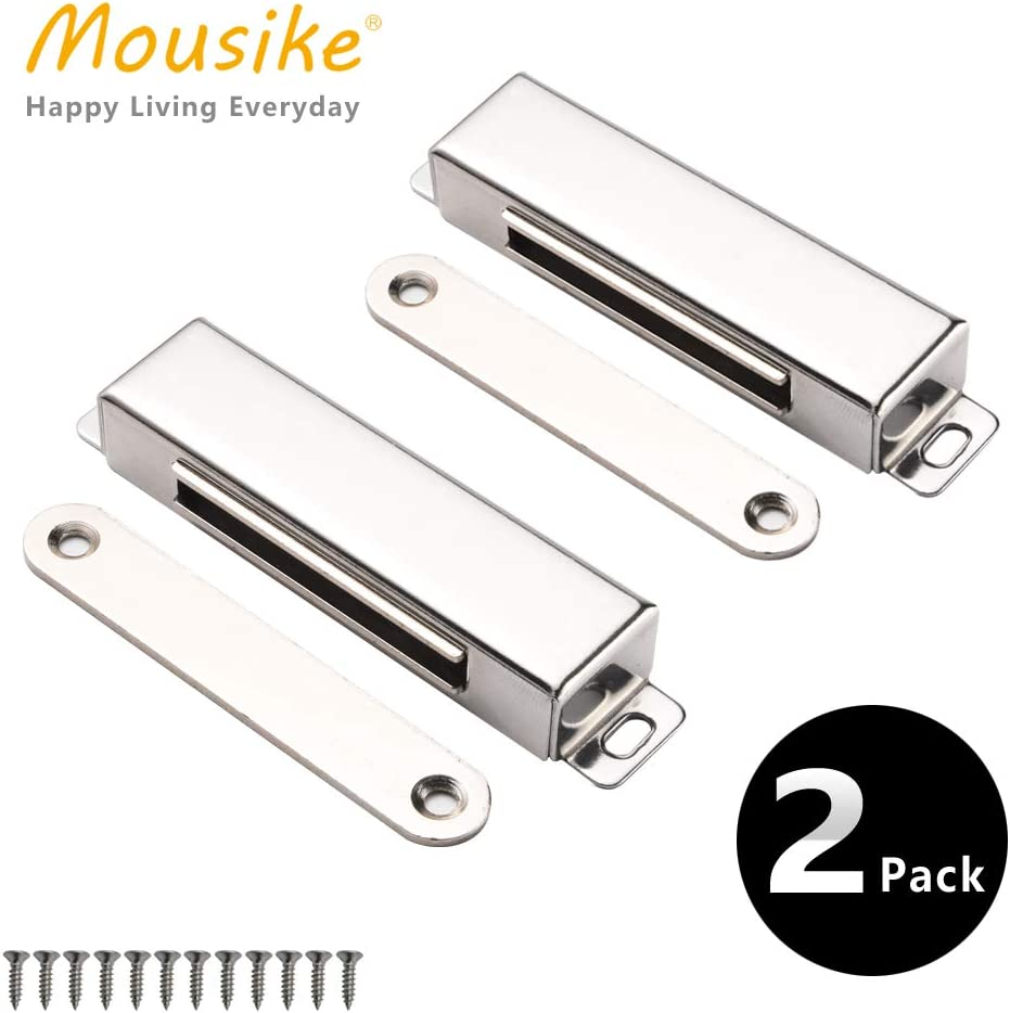 "Mousike Magnetic Door Catch,70lb Stainless Steel Cabinet Door Magnets with Strong Magnetic for Kitchen Cupboard Wardrobe Closet Cabinet Door Drawer Latch (3.8""70 lbs(2 Pack))"