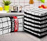 Utopia Towels Kitchen Towels (12 Pack, 15x25 Inch) Pure Cotton Machine Washable 6 Black and 6 White Dobby Weave Kitchen Dish Cloths, Tea Towels, Bar Towels