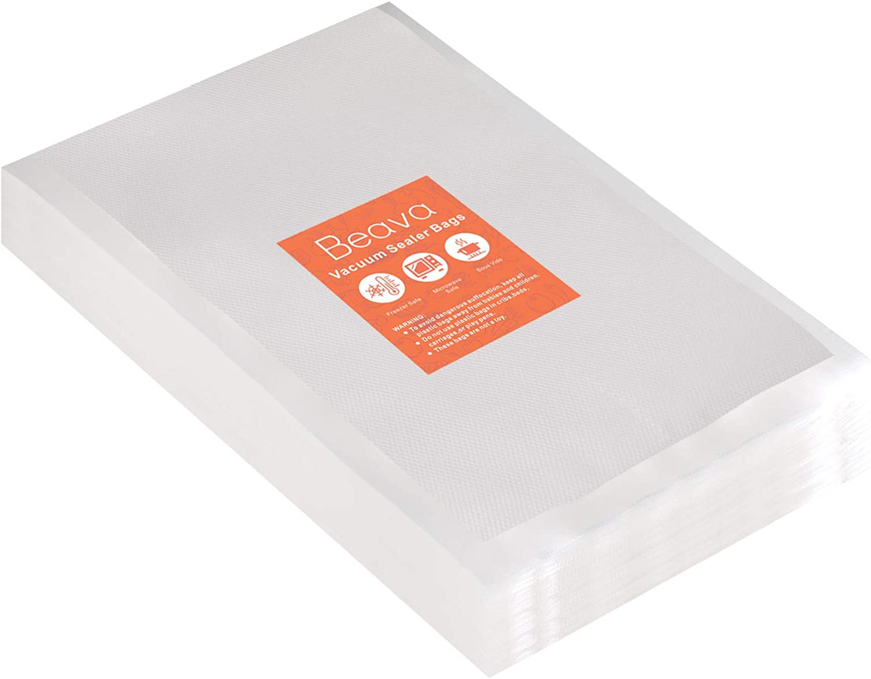 Vacuum Sealer Bags 10x14 Inch, Beava 100pcs Precut Vacuum Sealer Bags for food, Embossed Commercial Grade Food Saver Bags for Seal a Meal, Sous Vide Cooking or Meal Prep