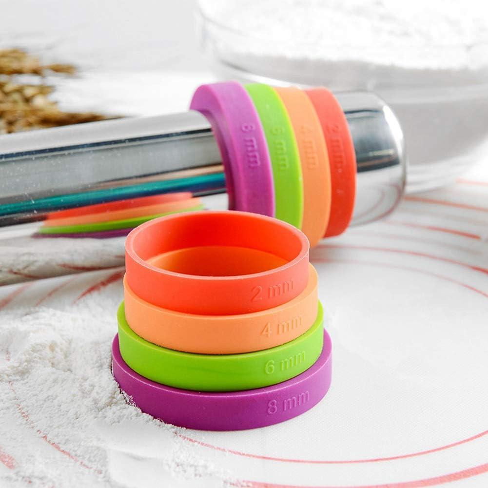 Chutoral Rouleau /à p/âtisserie r/églable en acier inoxydable avec anneau en silicone pour une /épaisseur r/églable