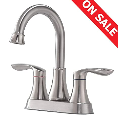 Bon KINGO HOME Contemporary Lavatory Two Handle Two Hole Vanity Brushed Nickel Bathroom  Faucets, Bathroom Sink