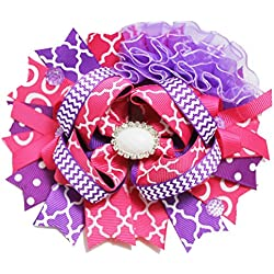 6 inch Dolling Diva Girls Boutique Hair Bows/Hair Clip(Pretty Pinks and Purples)