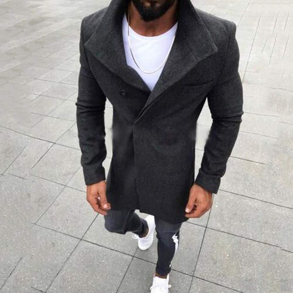 BOOMJIU Mens Winter Warm Slim Fit Trench Coat, Jacket Long ...