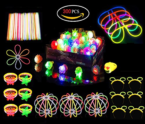 Glow Sticks LED Light Up Rings Toy Set Assortment,Glow in the Dark Theme Birthday Party Favor Toys Like Glow Glasses,Bracelets,Butterfly,For Kids over 3 Years Old(300 Pack)